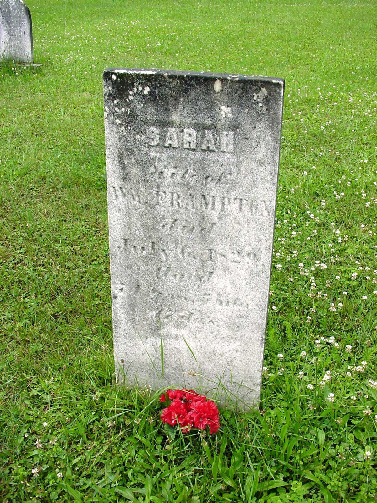 Tombstone of Sarah Staley Frampton, Strattanville, taken by Lynn van Rooijen